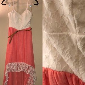 Lily Rose Coral and White High-Low Dress M